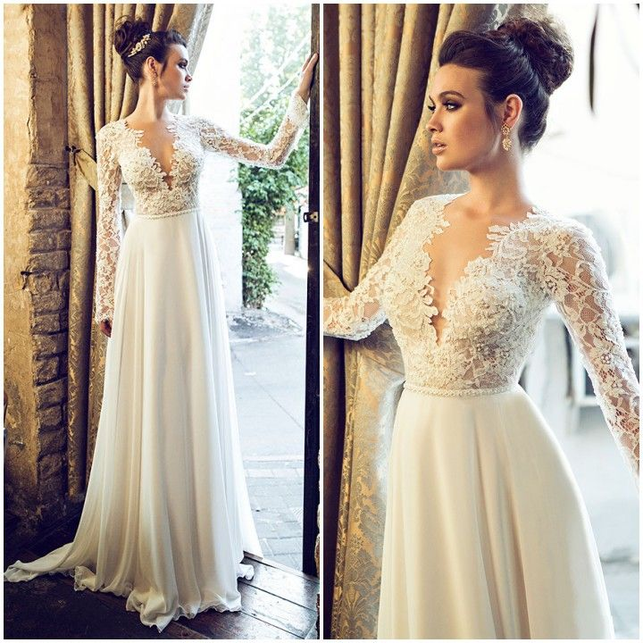Find more wedding dresses information about new open back for Long sleeve lace v neck wedding dress