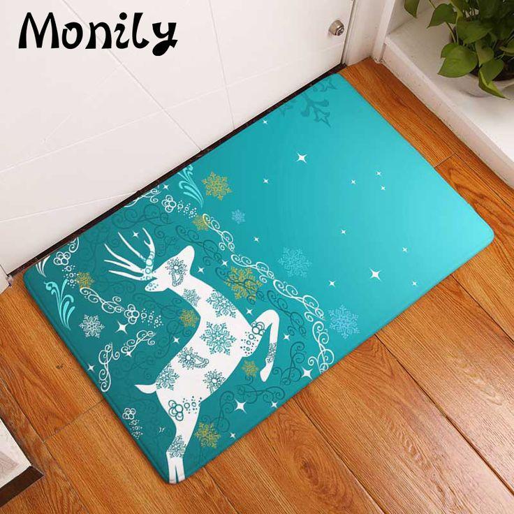 Monily Flannel Waterproof Floor Mat Cartoon Lovely Deer Santa Claus Carpets Bedroom Rugs Decorative Stair Mats Home Decor Craft