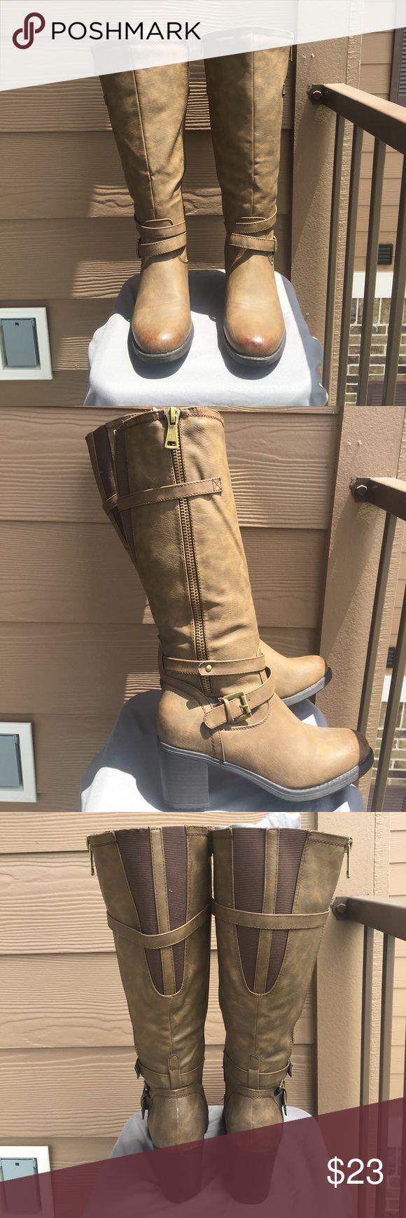 Knee high heeled brown zip up boots! ❗️WORN ONCE❗️ Perfect for fall and winter time! Dark gold accents. Worn 1 time. Shoes Heeled Boots