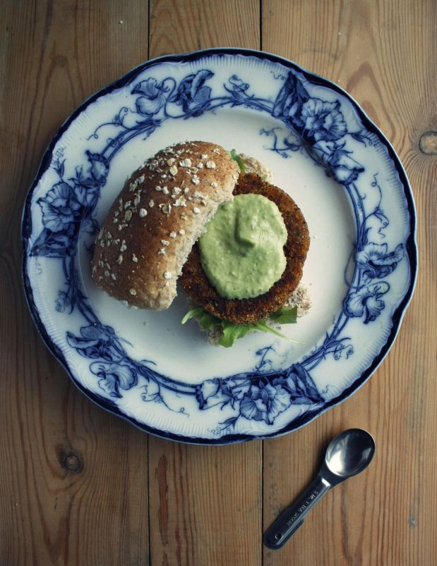 These quinoa burgers are nice and spicy (and can also be made gluten-free), and are complemented by the cooling avocado aioli.