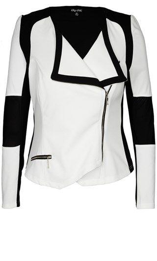 Mono biker jacket - City Chic
