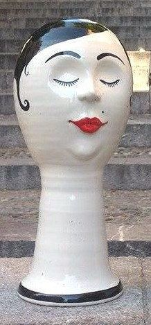 Italian ceramic lady hat stand  wig stand by ItalianBespokeArt