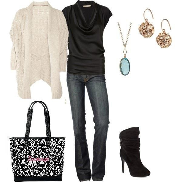 Favorite designer jeans with Black top, fashion earrings and necklace Black boots and Cindy tote from Thirty-One  $69.00   www.mythirtyone.com/dianecaudill