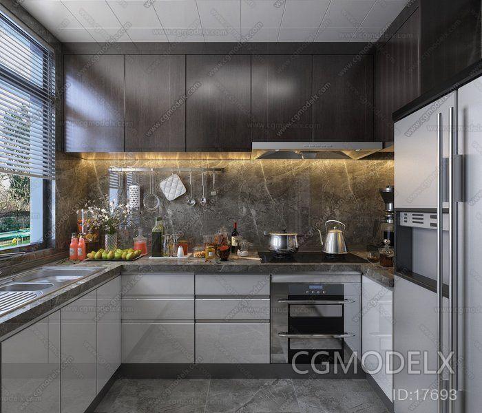 Contemporary Kitchen 3d Model Interior Design Ideas Kitchen 3d