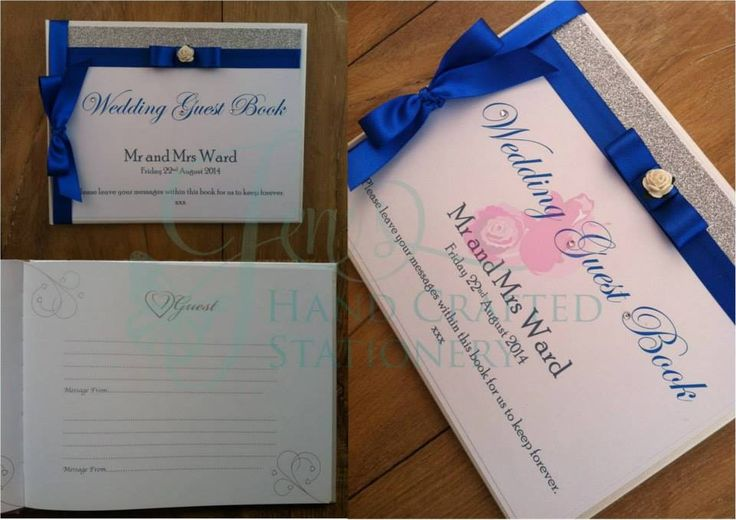 Royal blue and silver wedding guest book www.jenshandcraftedstationery.co.uk www.facebook.com/jenshandcraftedstationery