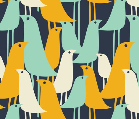 Mod Birds fabric by london_dewey on Spoonflower - custom fabric