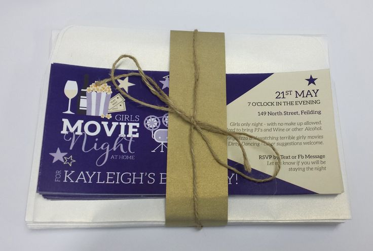 Movie Night In Themed Birthday Invitations designed by Imagine If Creative Studios