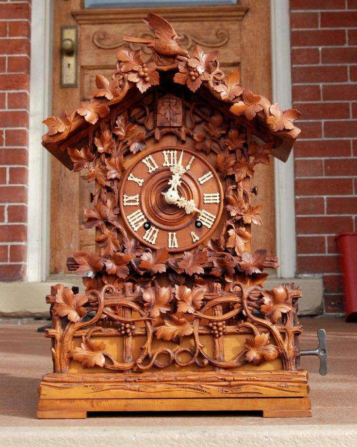 This clock was in Black Forest Clocks, by Rick Ortenburger (Schiffer 1991). The clock can be seen in a 5 photograph spread on page 104-105. This Beha is seen in a 512 case is one of the finest carved examples offered by Beha, and it was very popular, so today its a fairly common case style to locate. This was carved in fruit wood. The detail work is exquisite and the finish is warm and light. Very few were done in fruit wood of this quality. Base is tall for the large 6 tune musical…