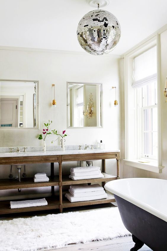 hang a disco ball in one of the rooms for a disco mood. bathroom. home decor and interior decorating ideas