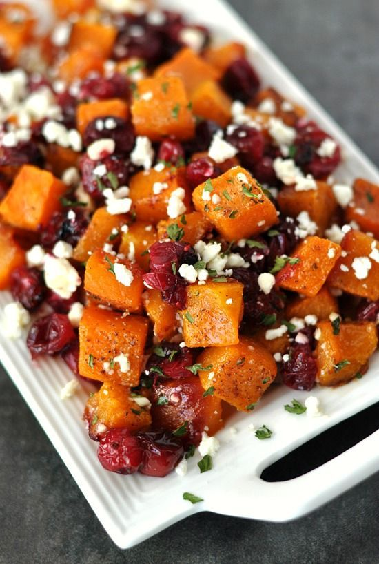 Honey Roasted Butternut Squash with Cranberries + Feta