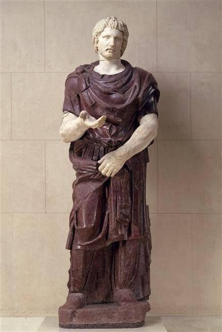 Captured barbarian, Roman statue (marble, porphyry), 2nd century CE, (Musée du Louvre, Paris)