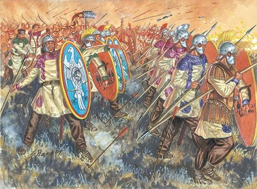 The late Roman legion used round shields because the Roman state didn't have the money to train the soldiers to work as an organized fighting machine like the early legion was. Instead the late legion was a militia and hence had to use round shields because round shields are better in individual combat.