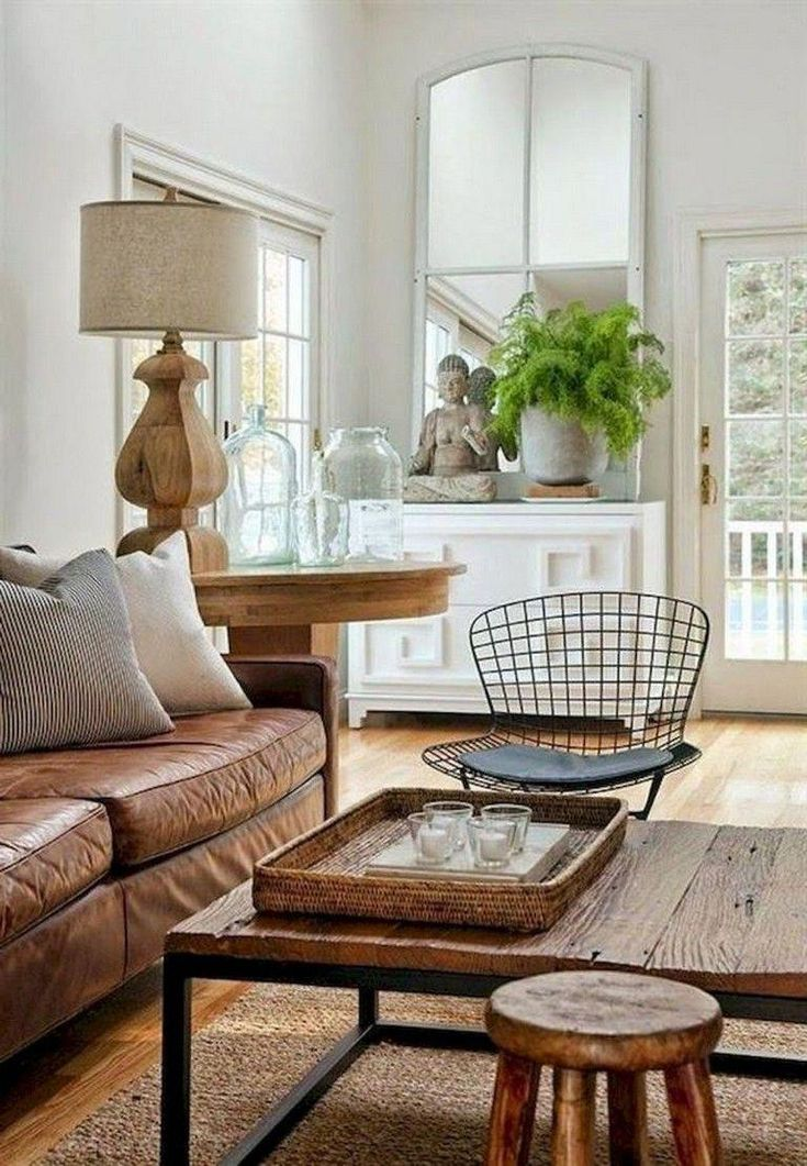 70+ Amazing Farmhouse Living Room Decor Ideas #farmhouse #livingroomdecor #livin… – Living Room Paint Colors With Brown Furniture