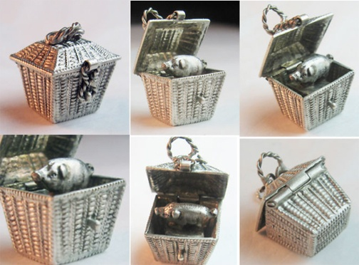 Rare Victorian piggy in the basket charm  ~ From the estate of Joan Munkacsi