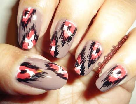 jelles:  Been awhile since I posted any nail work. So why not try out the inspiration I got from my lovely girl Emily's (nailsbyveryemily) who was inspired by Mr. Candiipants with Ikat nails! Colors used: Rimmel Steel Gray Confetti Afterparty Stripe Rite Black Sally Hansen Xtreme Wear White On