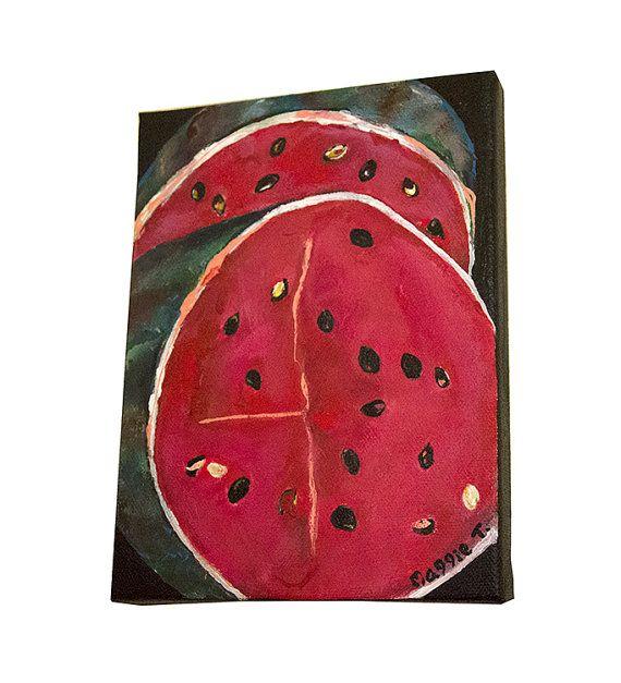 Original Wassermelone Malerei auf Leinwand von MaggieTurnerArts