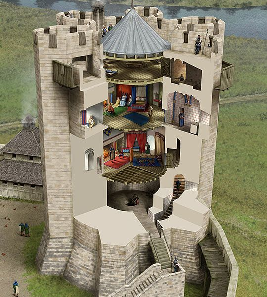 Conisborough Castle A cutaway reconstruction drawing of the keep in about 1180, showing the tower's three principal chambers © English Heritage (drawing by Peter Urmston)