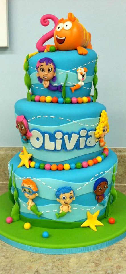 This three-tiered Bubble Guppies Cake with Mr. Grouper on top is fantastic!