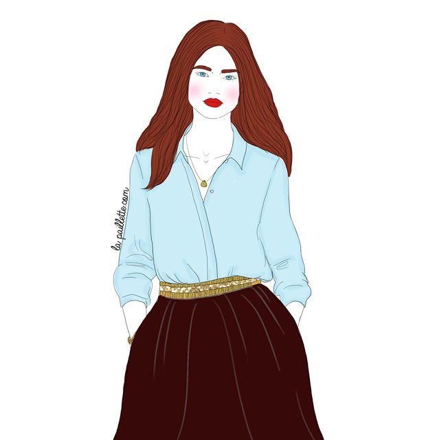 illustration drawing dessin Fashion  mode style chemise chemisier bleu ceinture dorée noir doré bleu