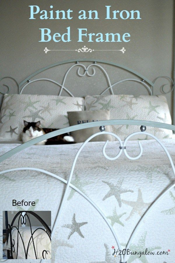I'm sharing how to paint an iron bed frame and turn an old dark and tired bed into a stunning centerpiece. This project makes a huge impact in any makeover.                                                                                                                                                     More