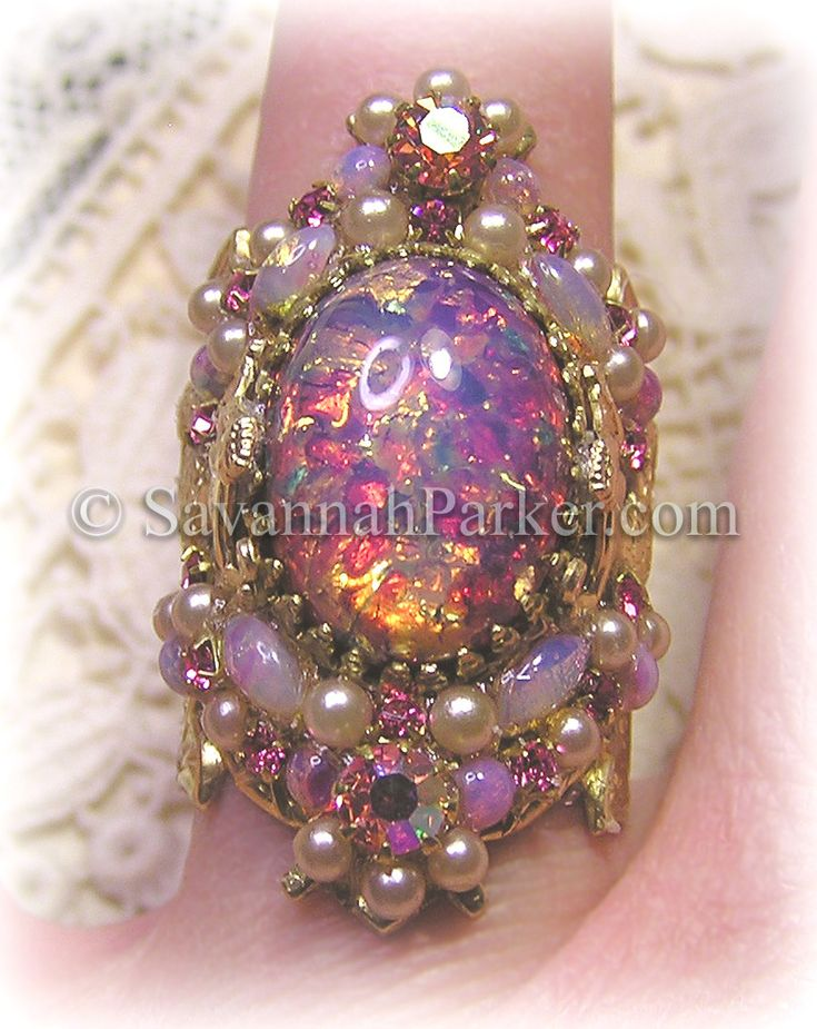 Antique Style Victorian Art Nouveau PINK MERMAID Ring - Vintage Pink Glass Fire Opals and pink jewels--created by http://www.savannahparker.com