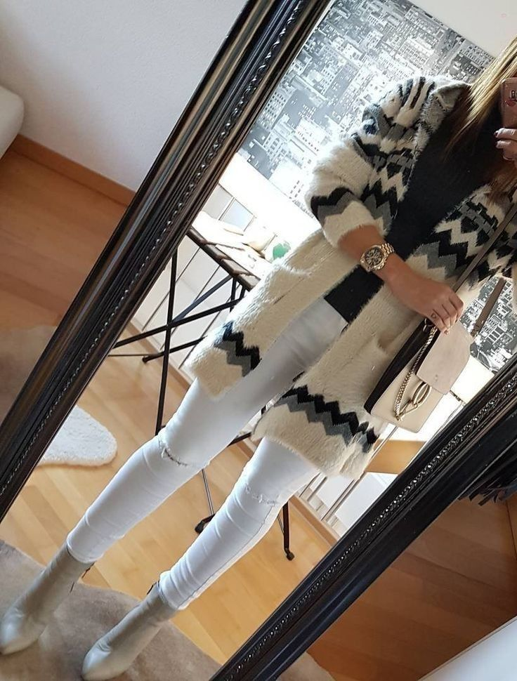 Aztec Print Cardigan // Black Top // White Destroyed Jeans // Grey Leather Booties... - Street Fashion