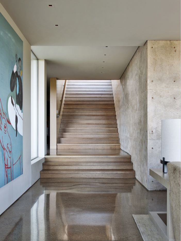 Lake Flato: polished concrete floors with exposed aggregate reveal the composition of the material, a beautiful texture and can be see in this residence in Austin, Texas.