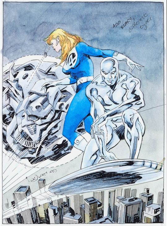 John Buscema and Bill Sienkiewicz Galactus the Devourer #2 Splash Page 1 Color Guide (Marvel, 1999).