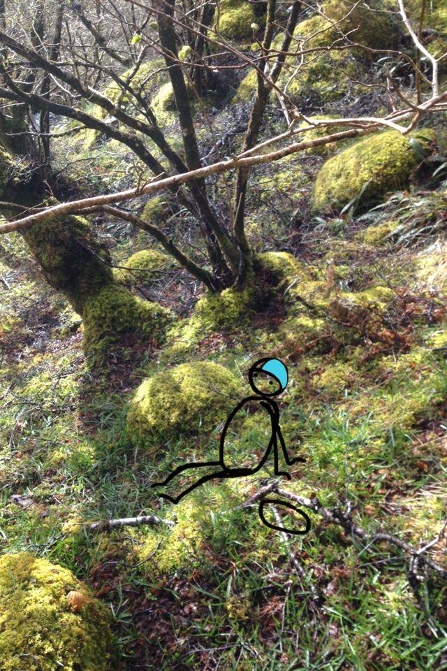 Having a break on the softest of moss cushions | www.lotjemeijknecht.nl #hobbit #illustration #scotland #landscape