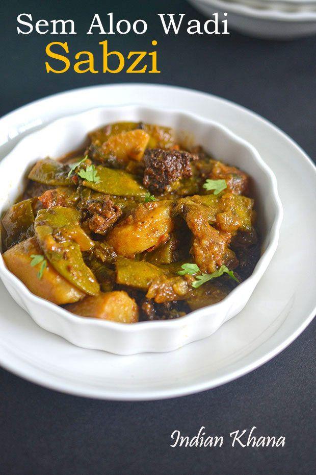 Indian Khana: Sem phalli Aloo Vadi Sabzi | Broad Beans Potato Ba...