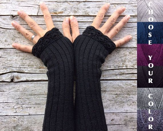 Gothic long gloves made to order woman arm by TheWoolCottage
