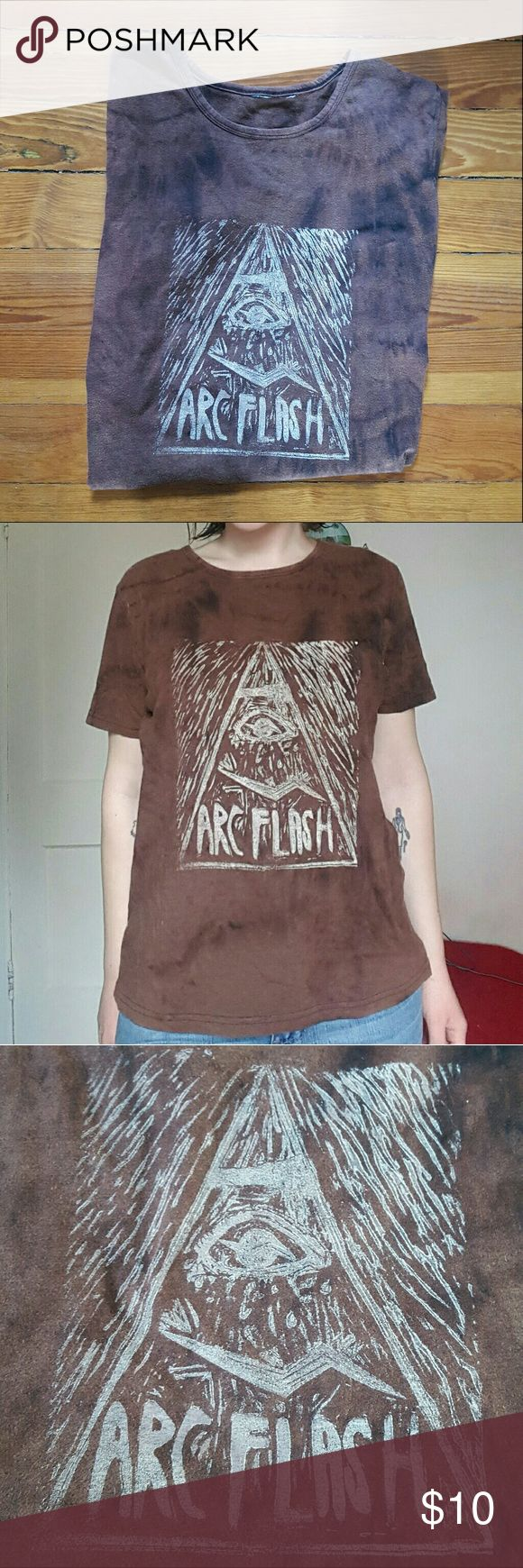 """Arc Flash Band T-Shirt Arc Flash band t-shirt. Arc Flash is a two piece experimental punk band from Kansas. Size tags are cut out, but it is 21"""" armpit to armpit, 24.5"""" long. In good condition with a little pilling and wear Tops Tees - Short Sleeve"""