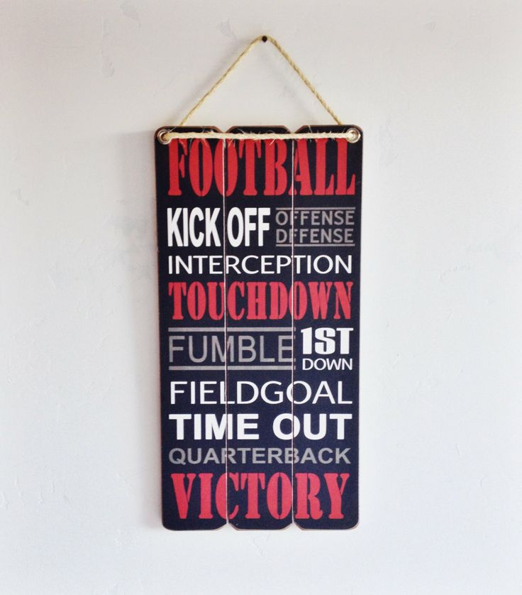SALE Football Sign Kick Off with a Wooden Sign by honeywoodhome, $19.95