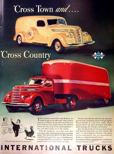 1940 International Trucks vintage ad. Cross town and Cross Country. Features the Panel Delivery and Semi Interstate models.