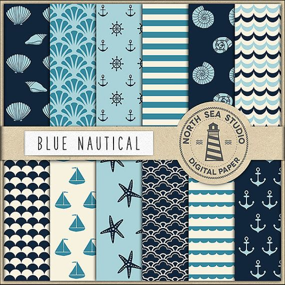 Nautical Digital Paper -     http://etsy.me/2bt6Wk2 Nautical scrapbook papers – navy blue nautical patterns This pack includes 12 digital scrapbook papers with navy blue nautical patterns. Use this digital paper for invites, birthday party decorations, card making, gift wrapping, printing labels, greeting cards. They're also great as a digital background for a web pages or blog, collages, computer desktop wallpaper and anything else you can come up with.