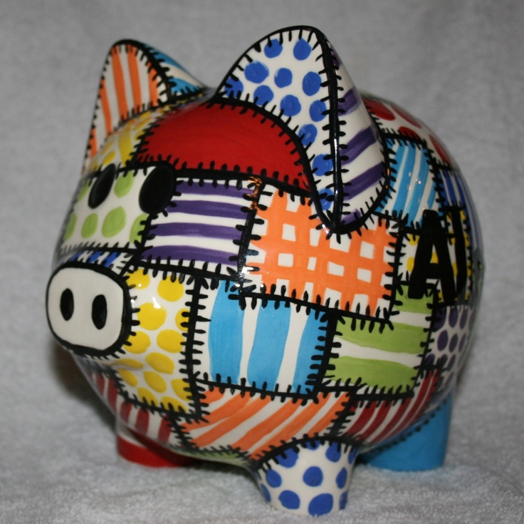 Piggy Bank Quilted Colors. $50.00, via Etsy.