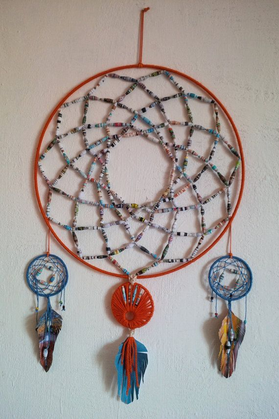 Atrapasueños, Acchiappasogni, #dreamcatcher made out of #paperbeads by MiLova #recycling