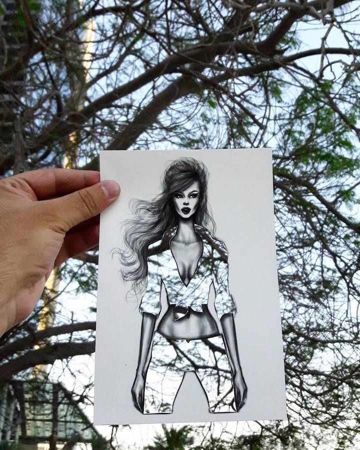 Shamekh sketches his fashion illustrations on paper then meticulously cut out the form of the outfits crafted illustrations was created by Jordan-based illustratorShamekh Al-Bluwi #ART