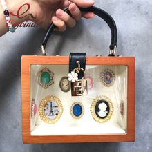 Novo estilo moda caixa de madeira caixa de forma transparente crachá do vintage bolsa das senhoras saco de festa bolsa de ombro crossbody saco do mensageiro alishoppbrasil