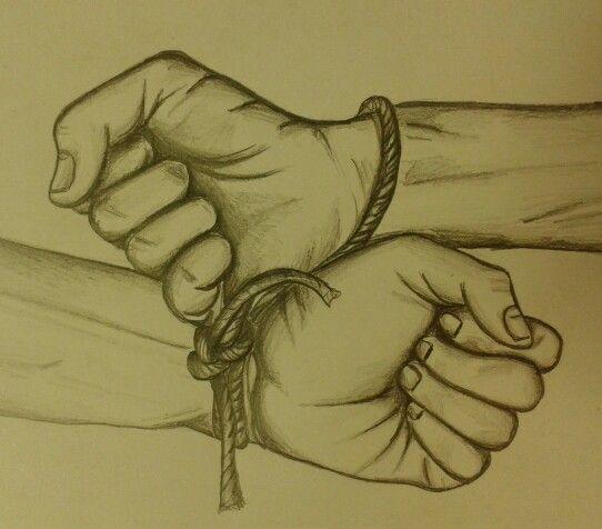 Together forever, binded hands pencil sketch.