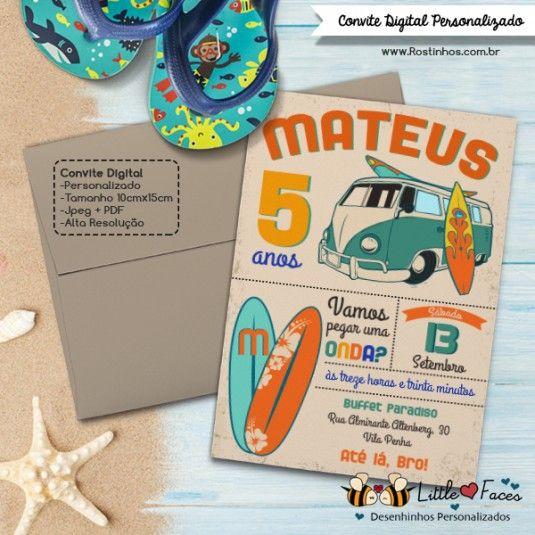 Convite Festa Surf Vintage Imprimir