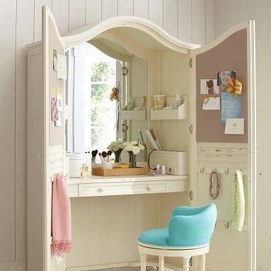 Turn an old armoire or entertainment center into a desk/vanity! Great idea I hate exposed products on vanity.