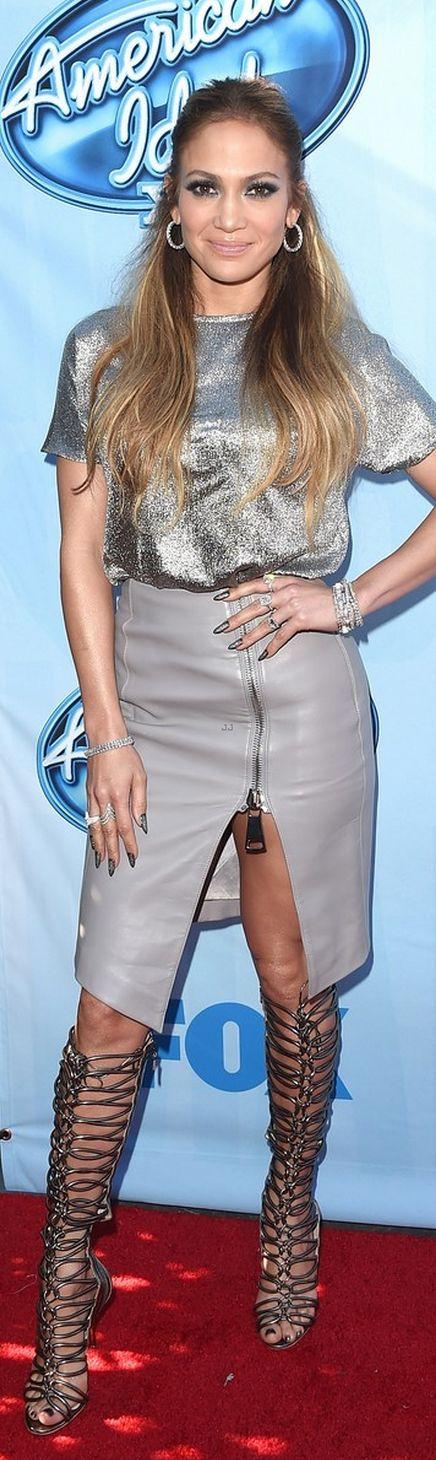 Jennifer Lopez: Shirt – Cedric Charlier  Skirt – Thomas Wylde  Shoes – Sophia Webster