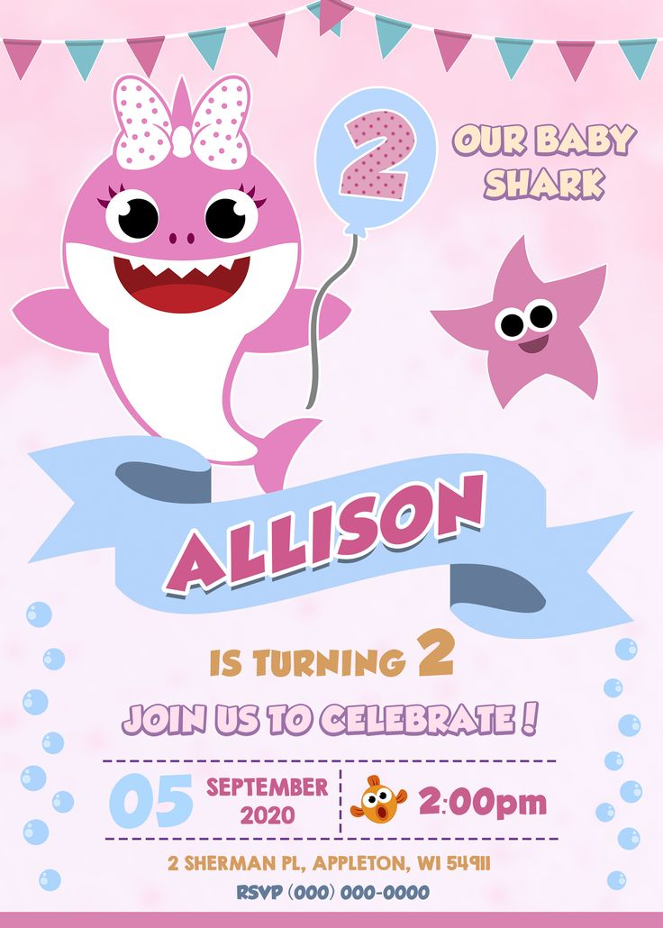 Baby Shark Digital Birthday Invitation, printable
