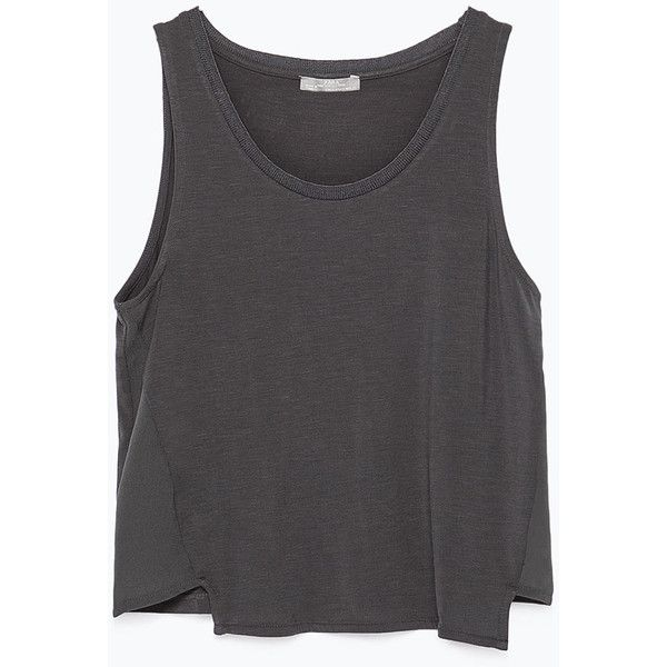 Zara Crop T-Shirt ($16) ❤ liked on Polyvore featuring tops, shirts, tank tops, crop tops, anthracite grey, zara top, grey shirt, embellished crop top, zara shirt y shirts & tops