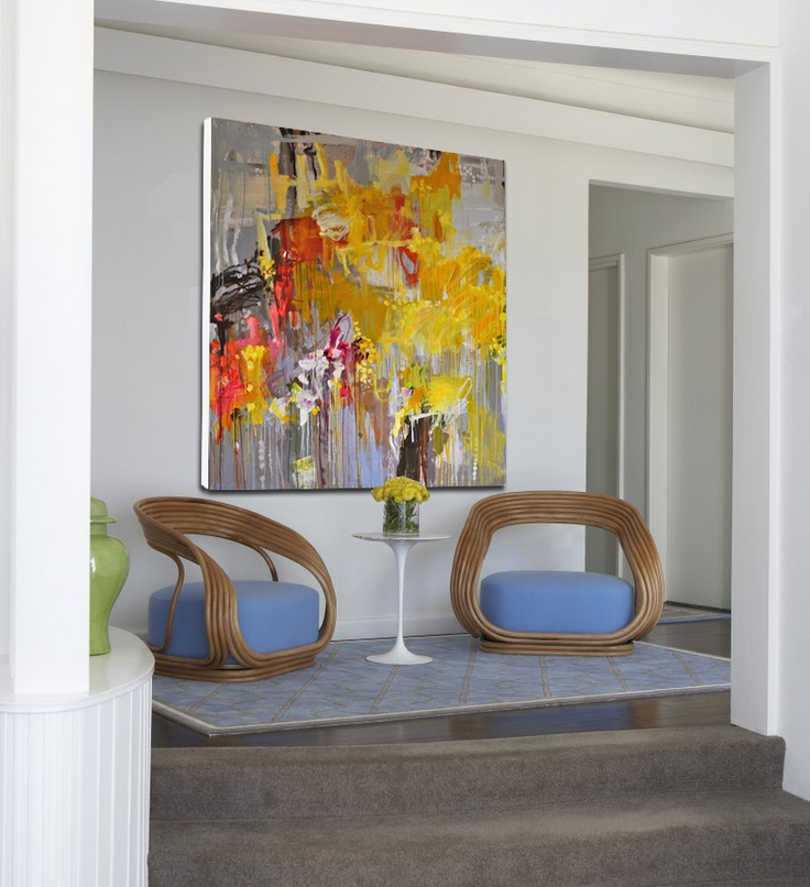In Jo Davenport's paintings, landscape is a transitional space. Day, night, and the seasons can change the appearance of the countryside in a split second. (Beachhouse interior Greg Natale Designs)