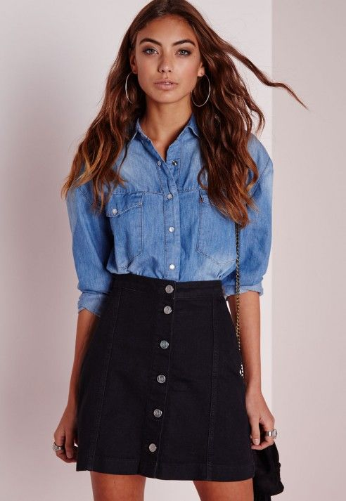 A-Line Button Through Skirt Black - Denim - Denim Skirts ...