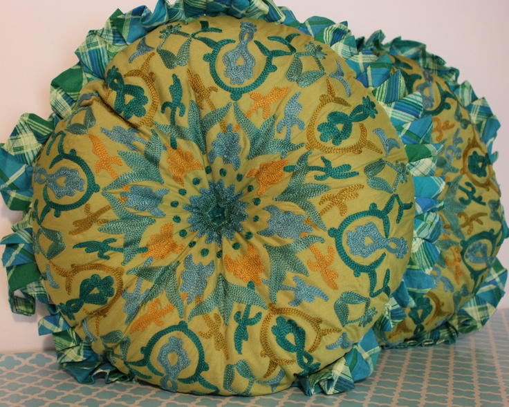 Round Embroidered Pillow $49.00 each  www.hungouttobuy.com