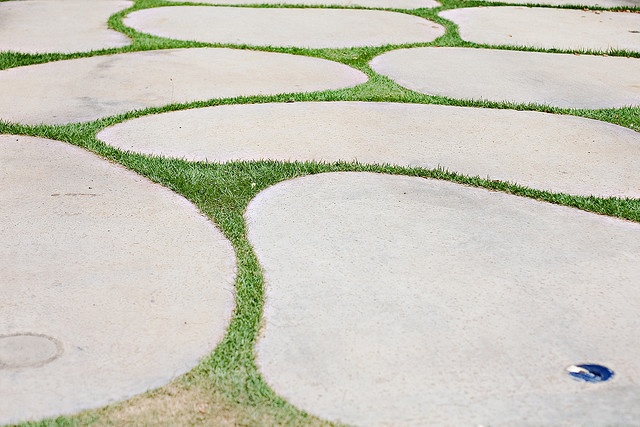 Interesting organic mosaic driveway in Lanikai, Oahu.
