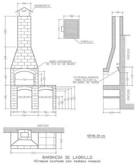 17 mejores ideas sobre asadores ladrillo en pinterest for Planos para cocina de lena